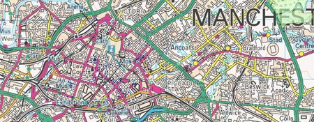 Map of Manchester showing places on the National Heritage List for England