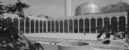 Black and white photograph of newly completeted London Central Mosque.
