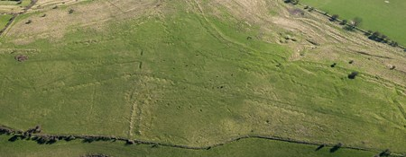 Aerial view of landscape showing location of First World War practice trenches
