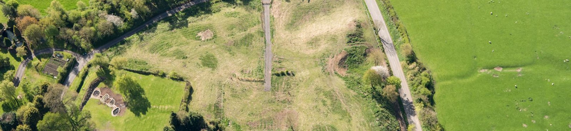 Aerial view of damage to Withybrook scheduled monument
