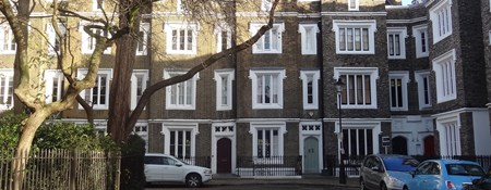 Group of listed houses in Lonsdale Square north London