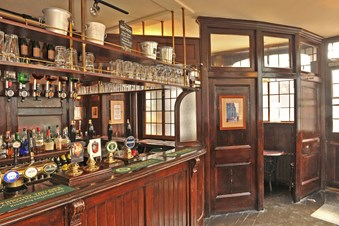 View of the bar of a public house.