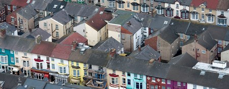 Aerial view of terraced housing in Blackpool