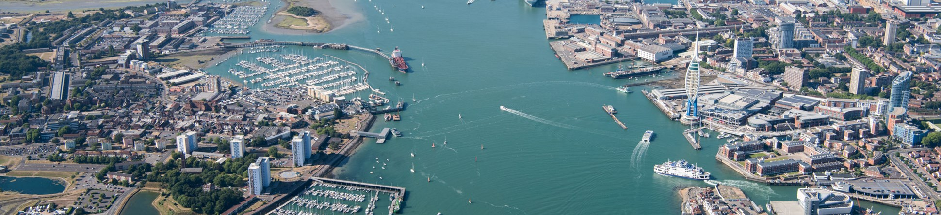 An aerial photograph of Portsmouth harbour.