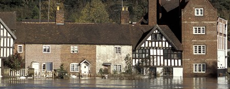 Image of houses flooded after the Severn burst its banks near Bewdley in Worcestershire