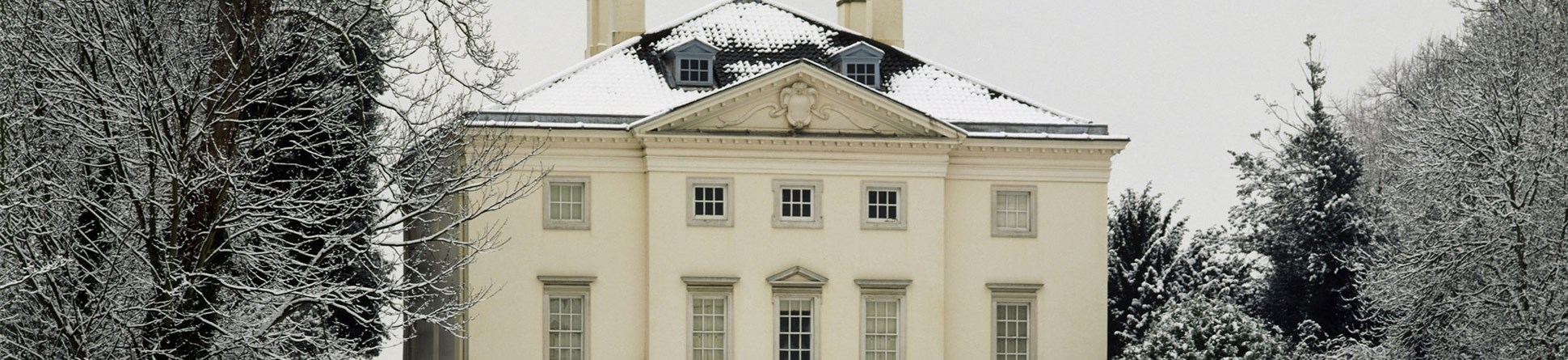 Image of the exterior of Marble Hill House, Richmond, in the snow.