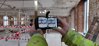 An image showing a 360 degree camera inside a mill