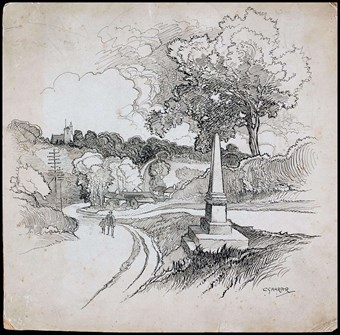 Late-19th or early-20th century pencil drawing of a rural scene. To right, an obelisk on a stepped plinth raised on a bank. To left a path winds up a hill. A man and a boy in the distance, walking uphill towards the memorial.