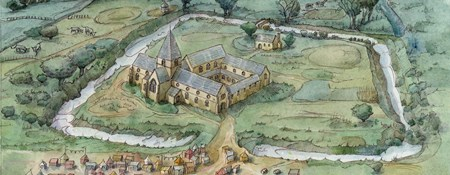 Artist's impression of the priory in the 14th century, with a fair in progress.