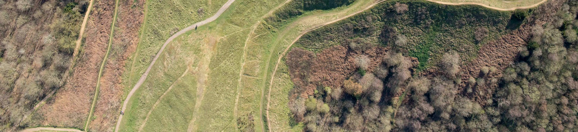 An aerial photograph of a hillfort.