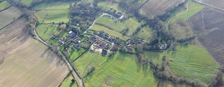 Aerial view of Crambe, North Yorkshire