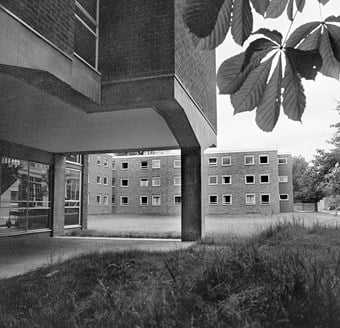 The ground floor has an open section where the building has been raised on stilts. This is a key feature of Modernist architecture, and allows full use of the ground.