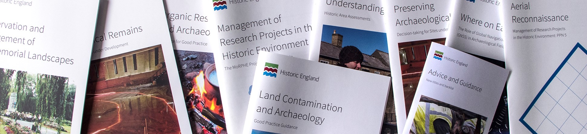 Front covers of Historic England advice and guidance documents
