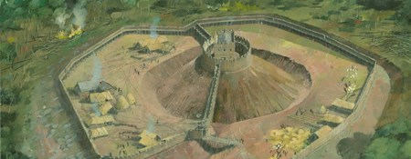 Reconstruction art showing a large Motte and Bailey castle under construction, with a wooden tower atop the motte mound.