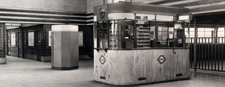 Black and white photo of Acton Town Underground Station ticket booth