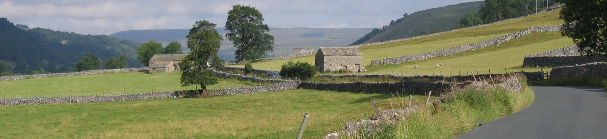 Country road leading to old farm buildings and Upper Wharfedale scenery