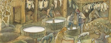 Reconstruction drawing of medieval tannery