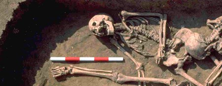 A triple burial dating to the Roman period, being excavated at Stanwick, Northamptonshire.