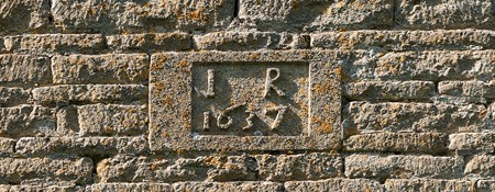 Detail of date stone on dovecote at Ashchurch, Fiddlington, Gloucestershire.