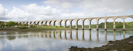 View of the Royal Border Bridge which crosses to Tweedmouth, Berwick-upon-Tweed.