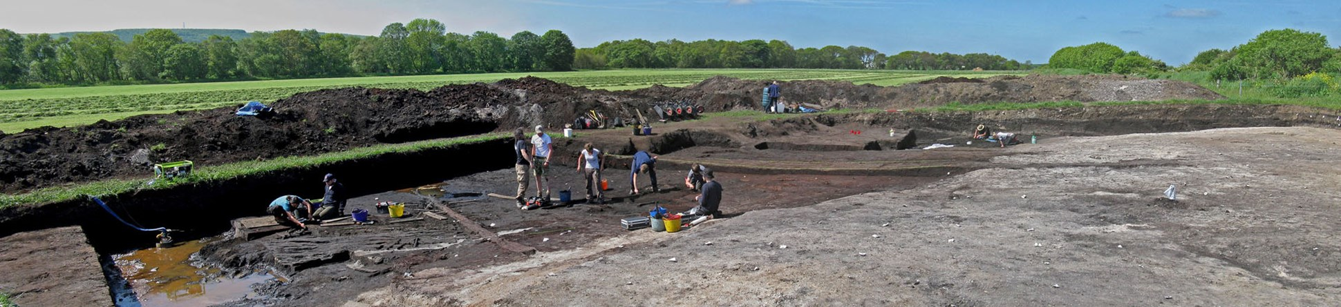 Colour photograph showing lots of archaeologists digging in a trench with spoilheaps behind; some timbers are visible left
