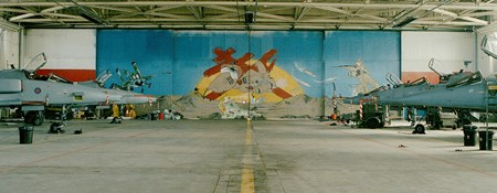 RAF Coltishall, Norfolk, Hangar 1 with a large picture of a double armed Cross of Lorraine taken from 41 Squadron's badge painted on the hangar's doors.