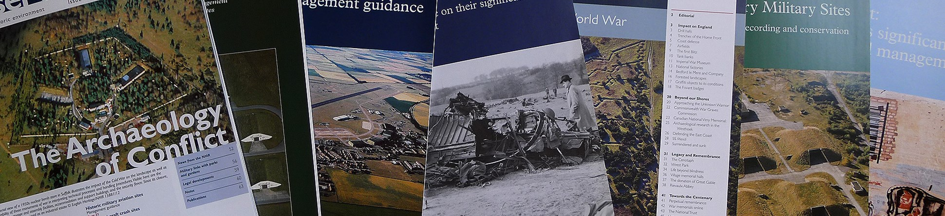 Covers of a selection of free Historic England publications on military heritage