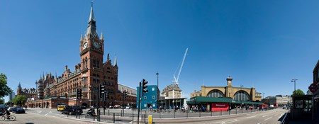 View of St Pancras International and King's Cross stations, London.