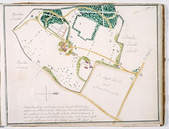 A photographic reproduction of a map of Moggerhanger Park