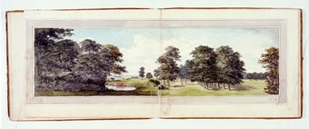 A photographic reproduction of a painting depicting fields, a gate and pond in Moggerhanger Park