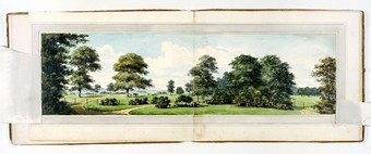 A photographic reproduction of a painting depicting fields, a drive, a gate and pond in Moggerhanger Park