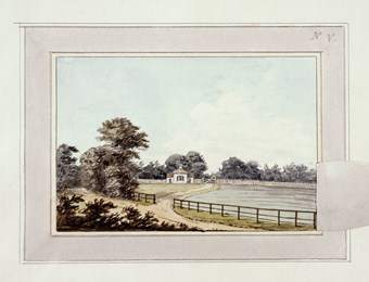 A photographic reproduction of a painting depicting a field, a house gate in Moggerhanger Park