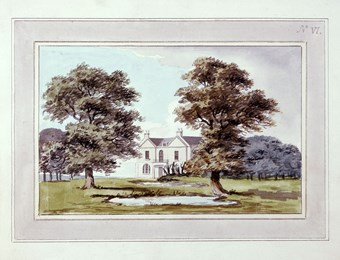A photographic reproduction of a painting depicting the house and a pond in Moggerhanger Park