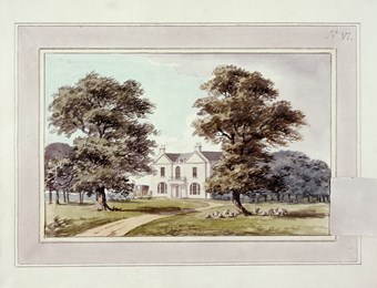A photographic reproduction of a painting depicting the house and drive in Moggerhanger Park.