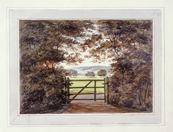 A photographic reproduction of a painting depicting a gate in Moggerhanger Park