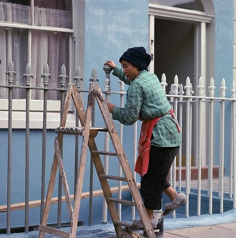 Woman on a stepladder painting railings.