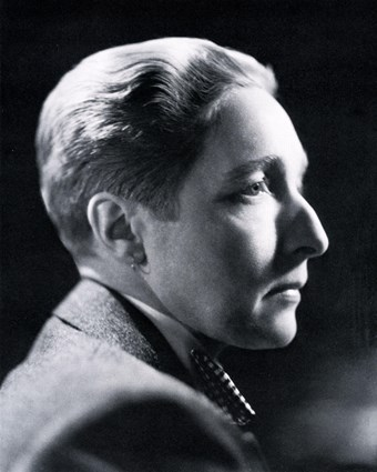 Black and white photo of Radclyffe Hall in profile