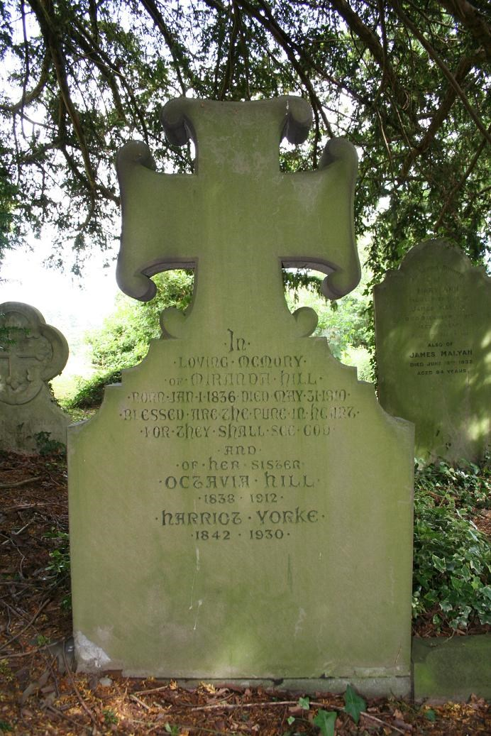 Headstone with text 'In loving memory of Miranda Hill...and of her sister Octavia Hill 1838-1912, Harriot Yorke 1842-1930.'