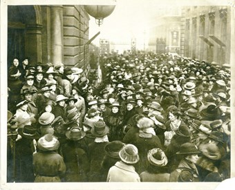 Photograph of a people gathered in demonstration by the NUWT London Unit