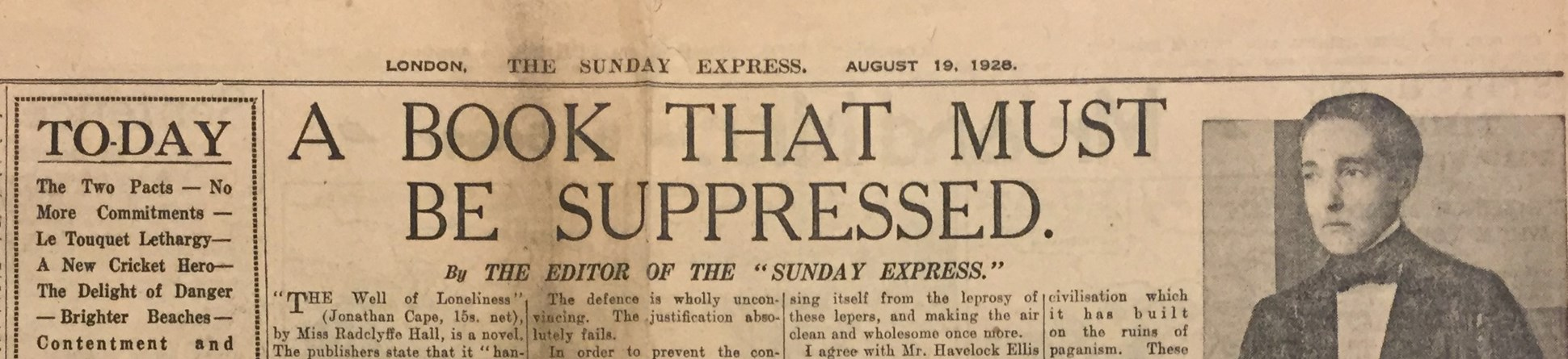 'A Book That Must Be Suppressed'. The Sunday Express editorial on Radclyffe Hall's The Well of Loneliness, 1928