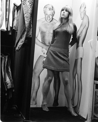 Jenny Boyd in the changing room of the shop