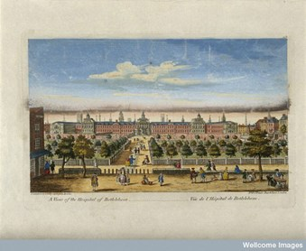 The Hospital of Bethlem [Bedlam] at Moorfields, London: seen from the north, with people in the foreground. Coloured engraving, c. 1771