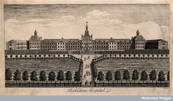 The Hospital of Bethlem [Bedlam] at Moorfields, London: seen from the north, with ladies and gentlemen walking in the foreground, one giving money to a cripple. Engraving by W. H. Toms.