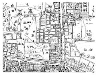Map showing location of Bethlem in Bishopgate – drawn by Anthonis van den Wyngaerde 1558 engraved by Franciscus Hogenberg 1559