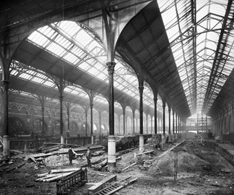 Construction work in the extension to Liverpool Street Station by the Great Eastern Railway, 1894 on the foundations of the first Bethlem Hospital.