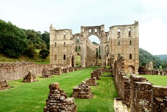 Rievaulx Abbey in Yorkshire, destroyed by Henry VIII during the dissolution of the monastries.
