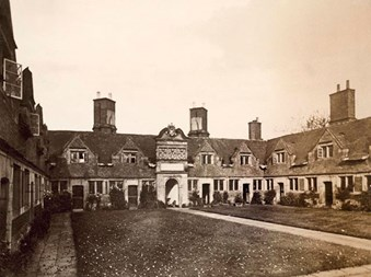 A view from the central green (numbers 5 to 10), Etwall Hospital in Derbyshire, one of a number of almshouses that were built in the 16th century