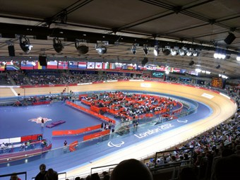 The Velodrome in use at the 2012 Paralympic Games, London.