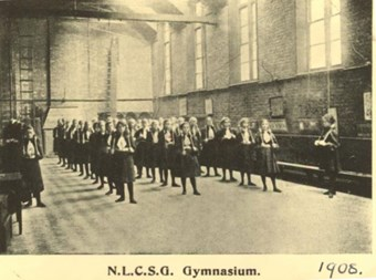The Sandall Road NLCSG gymnasium. © & source North London Collegiate School