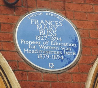 An English Heritage blue plaque commemorating Frances Buss at Sandall Road, London © & source Historic England.